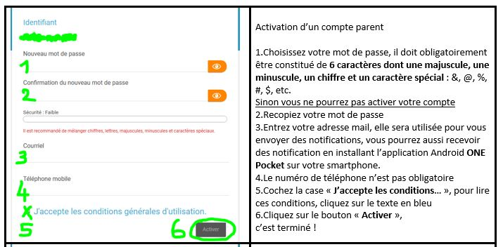 activation compte parent